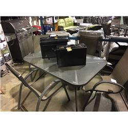 RECTANGULAR GLASS TOP PATIO TABLE WITH 4 CHAIRS