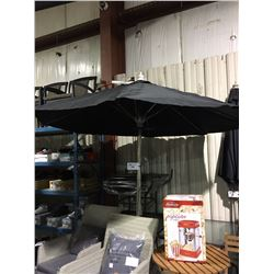 LARGE BLACK & METAL OUTDOOR PATIO UMBRELLA