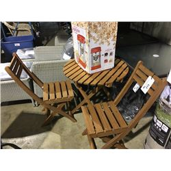 WOODEN 3 PIECE FOLDING PATIO SET