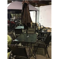 BROWN GLASS TOP PATIO TABLE WITH 4 FOLDING CHAIRS & UMBRELLA