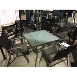 BROWN GLASS TOP PATIO TABLE WITH 4 FOLDING CHAIRS