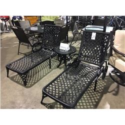 3 PIECE BLACK CAST ALUMINUM PATIO LOUNGE CHAIR & TABLE SET