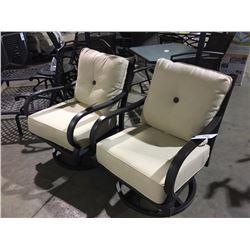 PAIR OF METAL & BEIGE CUSHIONED PATIO SWIVEL CHAIRS