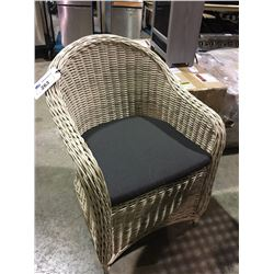 LIGHT WOVEN PATIO ARM CHAIR WITH CUSHION
