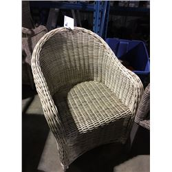 LIGHT WOVEN PATIO ARM CHAIR - NO CUSHION
