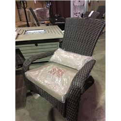 BROWN WOVEN PATIO ARM CHAIR WITH CUSHION