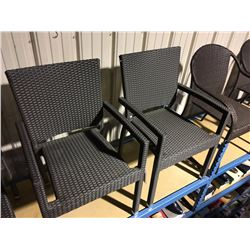 SET OF 4 BROWN WOVEN PATIO CHAIRS