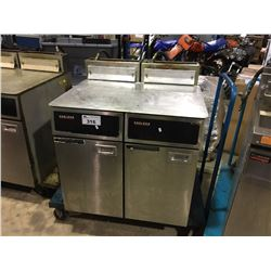 2 GARLAND STAINLESS STEEL DEEP FRYERS ON MOBILE CARTS