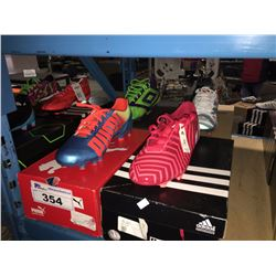 LOT OF ASSORTED SOCCER CLEATS - SIZE 9.5 US
