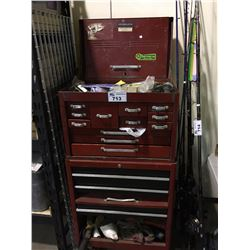 RED MOBILE TOOL CHEST WITH CONTENTS
