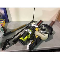 GAS HEDGE TRIMMER, ELECTRIC HEDGE TRIMMER & HAND TRIMMER