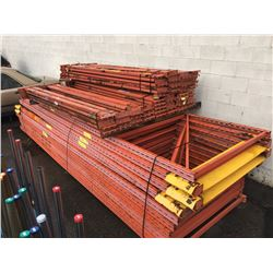 LARGE LOT OF ASSORTED ORANGE PALLET RACKING & CROSSBARS