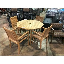 OCTAGON WOODEN FOLDING PATIO TABLE WITH 4 ARM CHAIRS