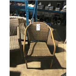 BEIGE WOVEN PATIO ARM CHAIR