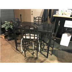 DARK METAL & GLASS BAR HEIGHT PATIO TABLE WITH 4 CHAIRS