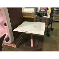 RECTANGULAR METAL BASE MARBLE TOP TABLE