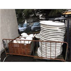 LARGE LOT OF WHITE PLASTIC PATIO TABLES