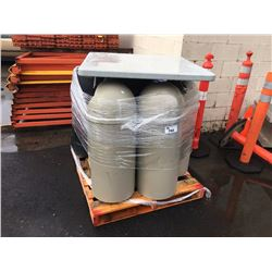 PALLET OF ASSORTED GARBAGE CANS & MISC