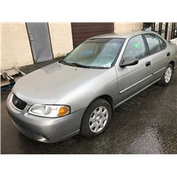 2001 NISSAN SENTRA XL, 4 DOOR SEDAN, GREY, VIN # 3N1CB51DX1L465141