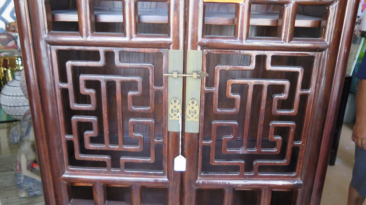 Tall Asian Multi-Shelved Wooden Cabinet w/Geometric Carved Double ...
