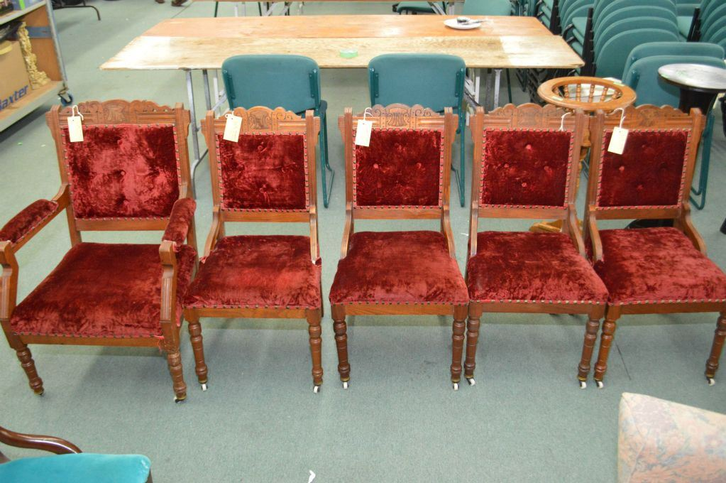 ... Image 2 : Six Antique Eastlake Chairs Including Four Dining Chairs,  Open Arm Parlour Chair ...