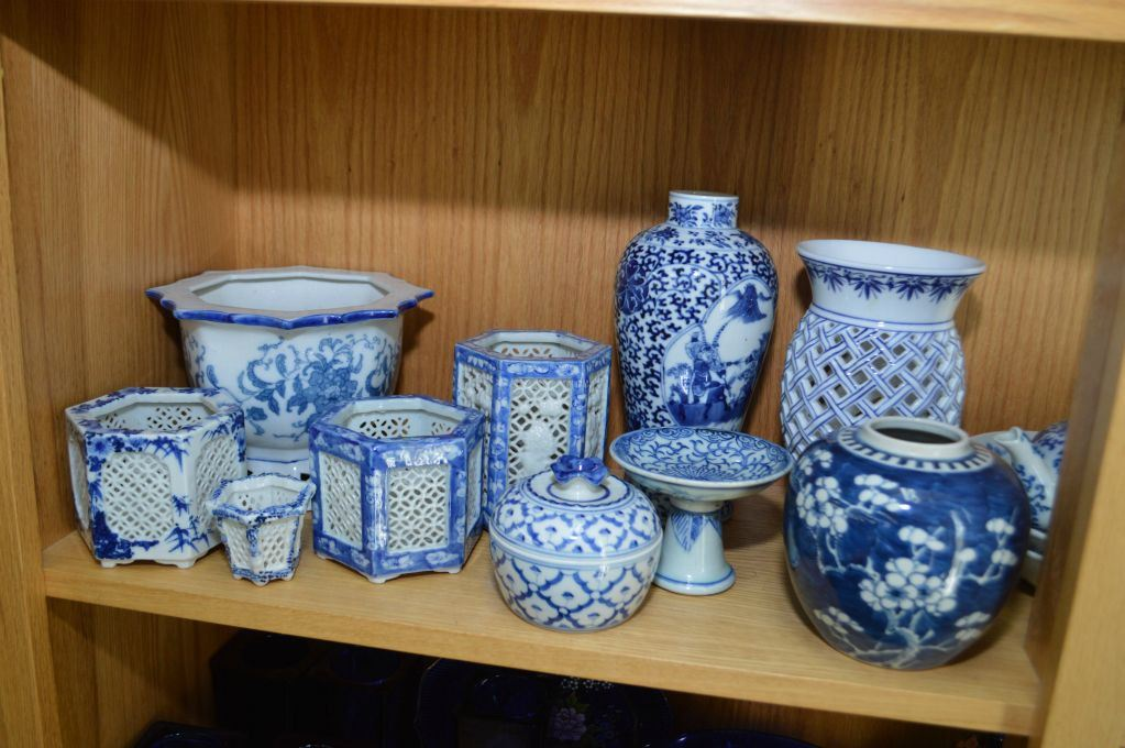 Shelf Lot Of Collectibles Including Blue And China Ginger Jars
