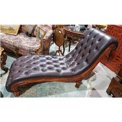Leather and carved wood chaise for Carved wooden chaise
