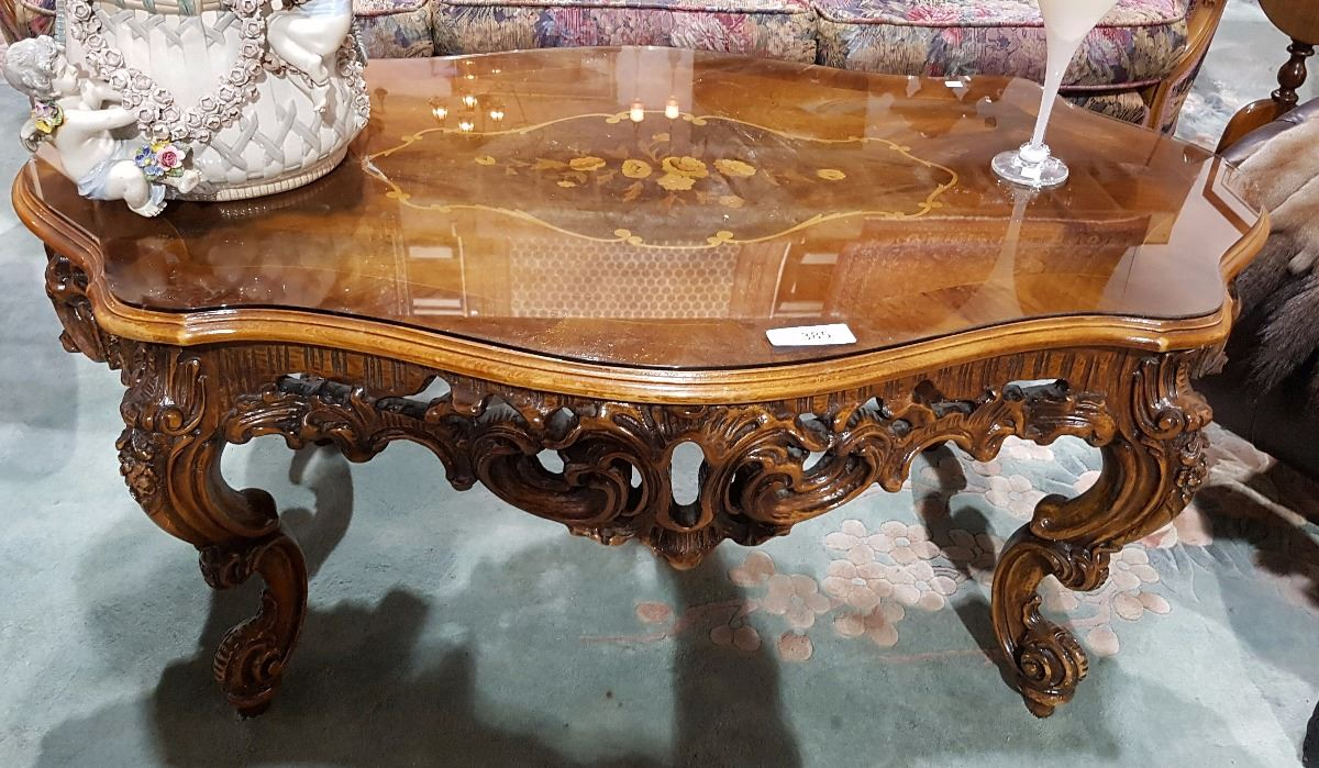 Image 1 Fabulous Highly Carved Inlaid Coffee Table W Gl Top
