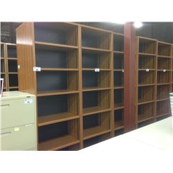 CHERRY 8' ADJUSTABLE SHELF BOOK CASE