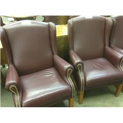 OX BLOOD LEATHER TRADITIONAL HIGH BACK RECEPTION CHAIR