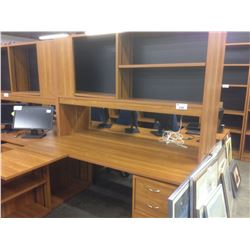 CHERRY 6' X 5' COMPUTER DESK, COMES WITH HUTCH