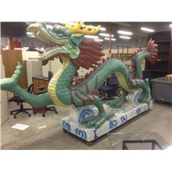 LARGE MOVIE PROP DRAGON ON WHEELS APPROX. 15' LONG X 7' TALL