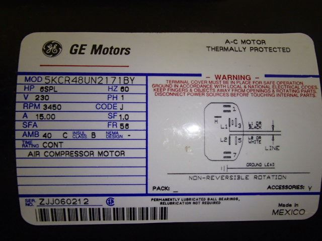 Ge 6hp Spl Air Compressor Motor Btm Industrial