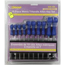 NEW DOCAP 10 PIECE METRIC T-HANDLE ALLEN KEY SET