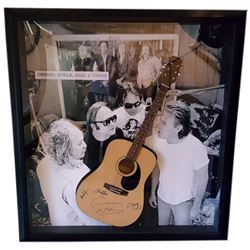 Crosby, Stills, Nash & Young Signed Guitar Framed