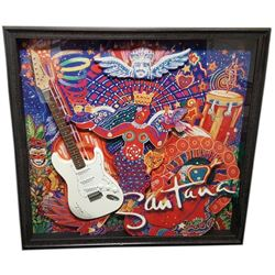 Carlos Santana Signed Guitar Framed