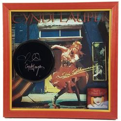 Cyndi Lauper Signed Tambourine Framed