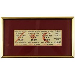 Woodstock Music and Art Fair Ticket Framed (1969)