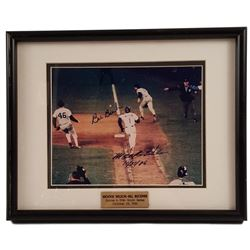 Mookie Wilson Bill Buckner Signed Picture Framed 1986