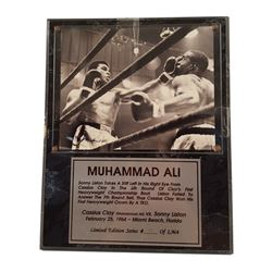 Muhammad Ali Signed Photo Plaque of Sonny Liston & Cassius Clay 1964 Framed