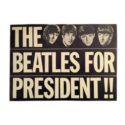 Beatles For President Original Sign 1964