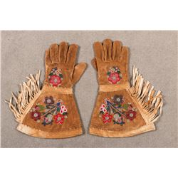 "Plateau Beaded Gauntlets, 15 ½"" long"
