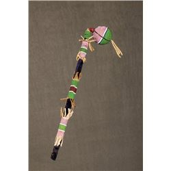 "Crow Beaded Child's War Club, 14"" overall"