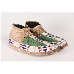 Sioux Beaded Man's Moccasins, 10 ½""