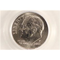 2007-P ROOSEVELT DIME PCGS MS68FB SATIN FINISH