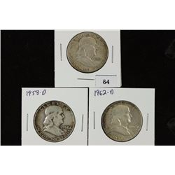 1953-S,58-D & 62-D FRANKLIN HALF DOLLARS
