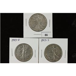 1943-P/D/S WALKING LIBERTY HALF DOLLARS