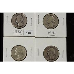1936,41,44 & 46-D WASHINGTON SILVER QUARTERS