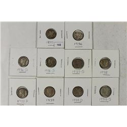 10-ALL DIFFERENT 1930'S MERCURY DIMES