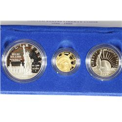 GOLD & SILVER 1986 STATUE OF LIBERTY 3 COIN PF SET